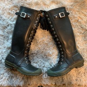Hunter lace up wellie rain boots
